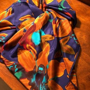 Echo 100% silk blue/gold floral scarf